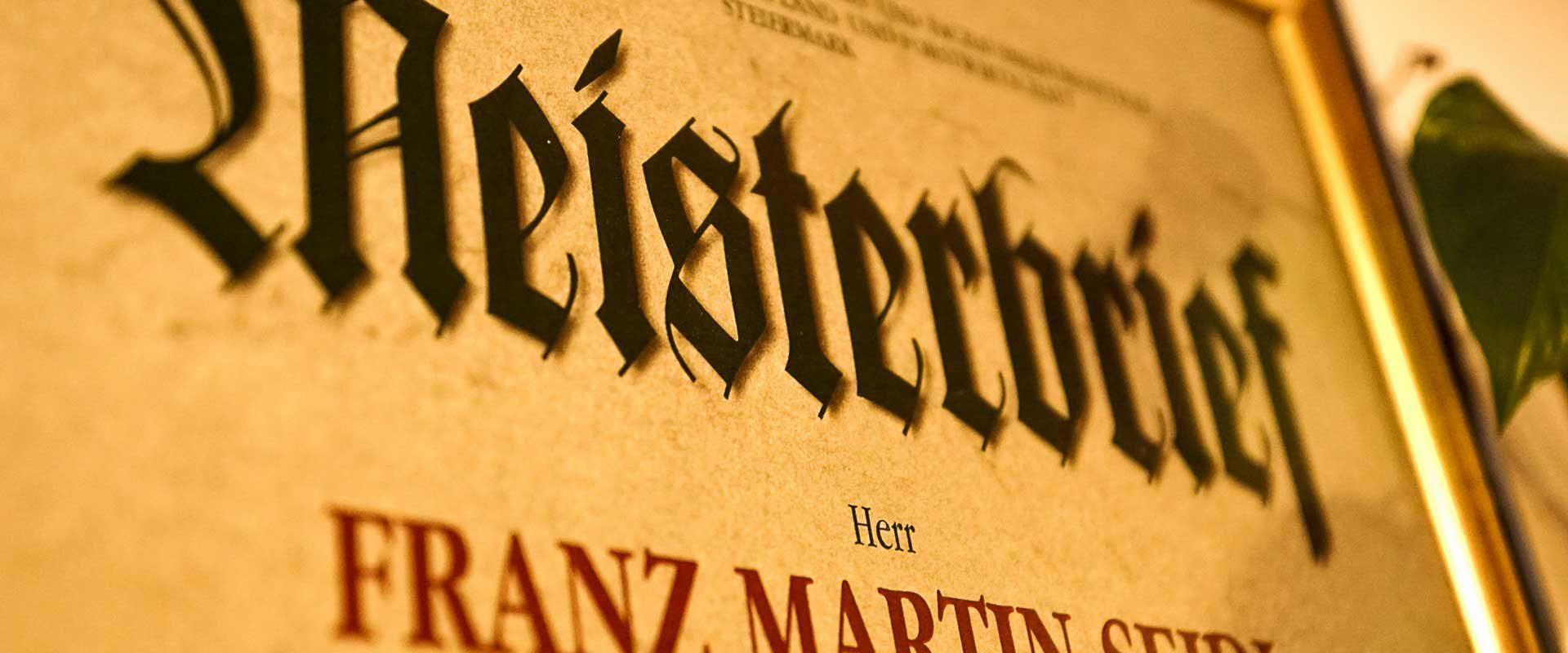 Copyright SEIDL WEINE & BUSCHENSCHANK Meisterbrief